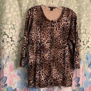 August Silk 1X leopard print sweater NWOT